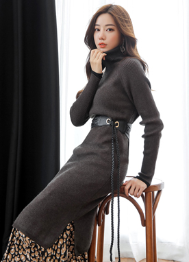 Twin Slit Turtleneck Long Knit Dress, Styleonme