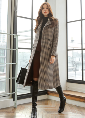 Check Print Wool-Blend Tailored Coat, Styleonme
