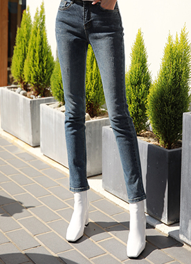 Damaged Blue Wash Straight Leg Jeans, Styleonme