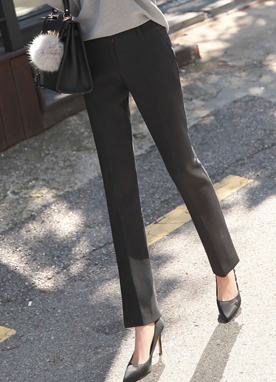 Slim Line Side Slit Boot-Cut Slacks, Styleonme