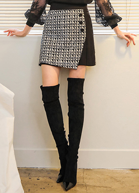 Button Tweed Mini Skort, Styleonme