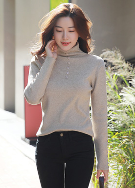 Button Accent Turtleneck Knit Tee, Styleonme