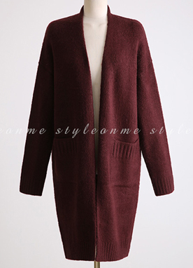 Loose Fit Twin Pocket Long Knit Cardigan, Styleonme