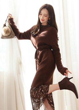 Soft Ribbon Tie Set Long Knit Dress, Styleonme