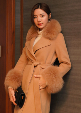 Premium Fox Fur Wool Cashmere Coat, Styleonme
