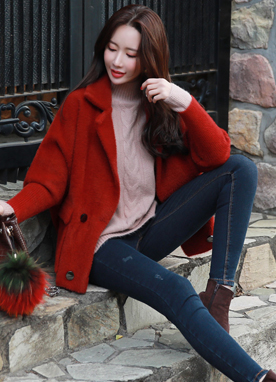 Double-Breasted Knit Short Coat, Styleonme
