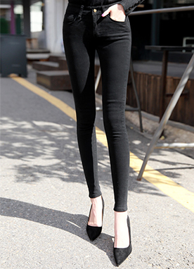 Brushed Lining Skinny Jeans, Styleonme