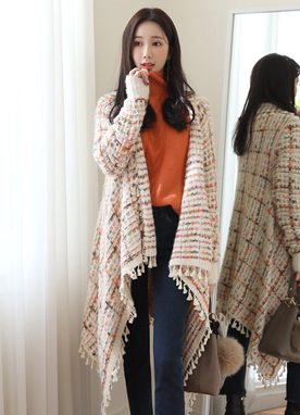 Mix Color Tassel Detail Knit Shawl Cardigan, Styleonme
