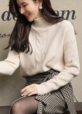 High Neck Cable Knit Detail Sweater, Styleonme