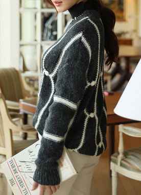 Loose Fit Wool Blend Round Neck Knit Sweater, Styleonme
