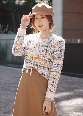 Mix Color Lace-Up Knit Top, Styleonme