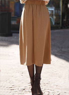 Back Elastic Band Wool Midi Skirt, Styleonme
