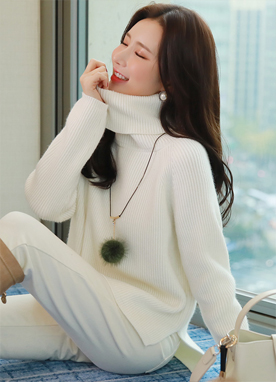 Loose Fit Side Slit Turtleneck Knit Tee, Styleonme