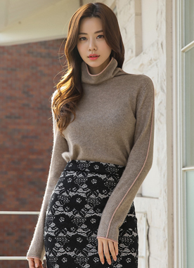 Soft Cashmere Turtleneck Knit Top, Styleonme