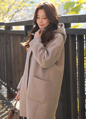 Wool Blend Loose Fit Hooded Coat, Styleonme