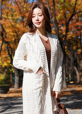 Open-front Cable Knit Long Cardigan, Styleonme