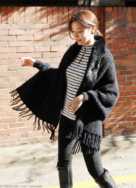 Soft Faux Fur Shawl Cardigan, Styleonme