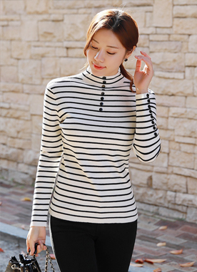 Stripe Button Detail Turtleneck Knit Top, Styleonme