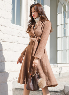 Premium Alpaca Double-Breasted Flared Coat, Styleonme