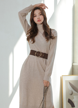 Wool Cashmere Blend Turtleneck Knit Dress, Styleonme