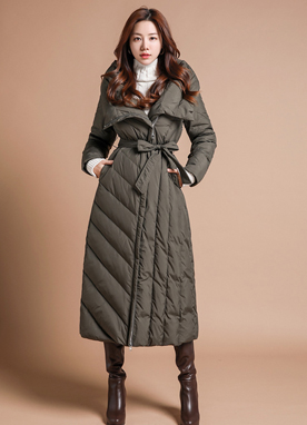 Quilted Slim Fit Long Padded Down Coat, Styleonme