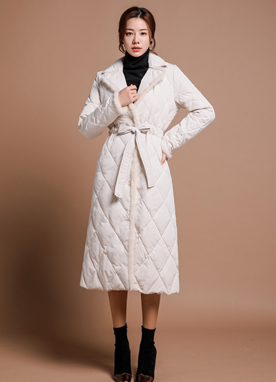 Mink Fur Trim Quilted Padded Down Coat, Styleonme