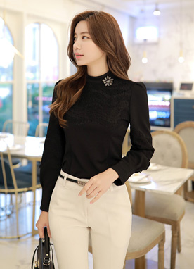 Shine Lace Detail Mock Neck Blouse, Styleonme