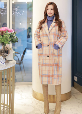 Candy Color Check Print Alpaca Knit Coat, Styleonme