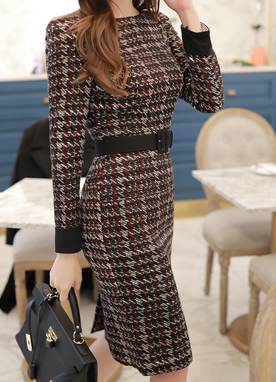 Luxury Tweed Belt Set Dress, Styleonme