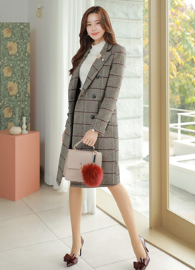 Check Print Double-Breasted Tailored Wool Coat, Styleonme