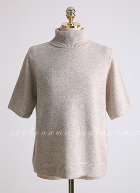 Wool Blend Short Sleeve Turtleneck Knit Top, Styleonme