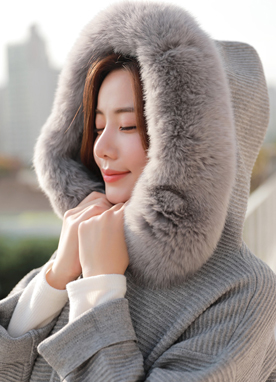 Fox Fur Hooded Knit Coat, Styleonme