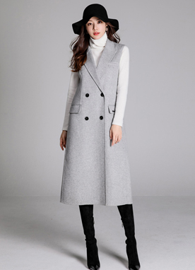 Wool Handmade Long Vest Coat, Styleonme