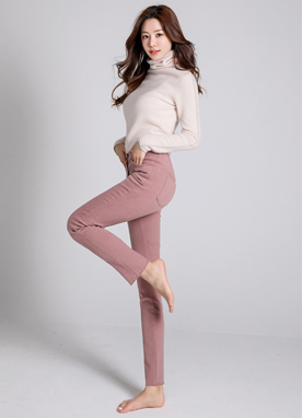 Soft Brushed Lining Elastic Waistband Pants, Styleonme