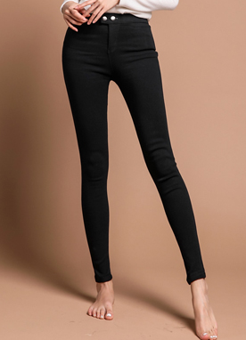Two Button Brushed Lining Skinny Pants, Styleonme