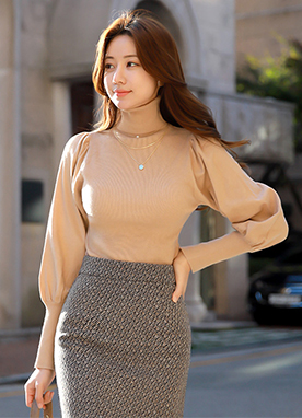 Soft Puff Sleeve Turtleneck Ribbed Knit Tee, Styleonme