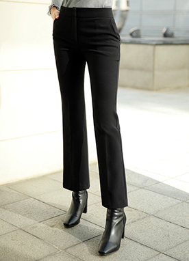 Brushed Lining Boot-Cut Slacks, Styleonme