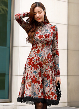 Romantic Floral Print Brushed Flared Dress, Styleonme