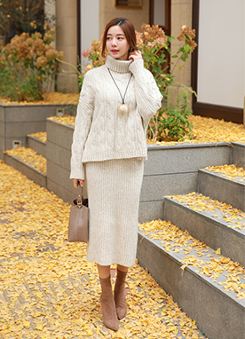 Wool Blend Turtleneck Cable Knit Two Piece, Styleonme
