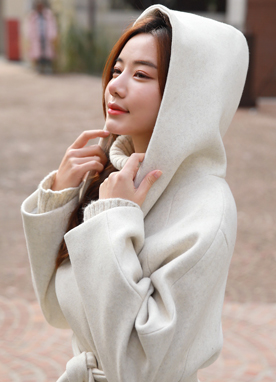 Wool Blend Hooded Long Robe Coat, Styleonme