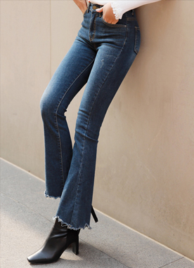 Raw Hem Brushed Lining Boot-Cut Jeans, Styleonme
