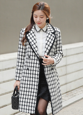 Fringe Check Print Double-Breasted Coat, Styleonme