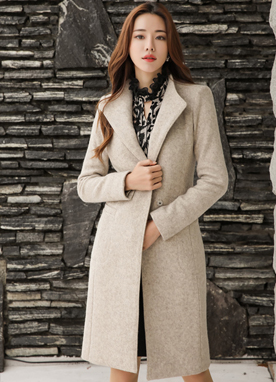 Wool Blend Slim Fit Belted Coat, Styleonme