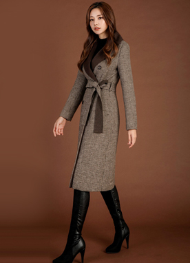Check Print Wool Blend Slim Fit Coat, Styleonme