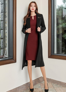 Faux Leather Belt Tailored Wool Blend Coat, Styleonme