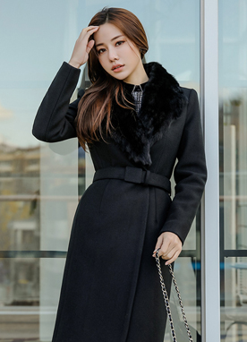 Rabbit Fur Collar Belted Wool Coat, Styleonme