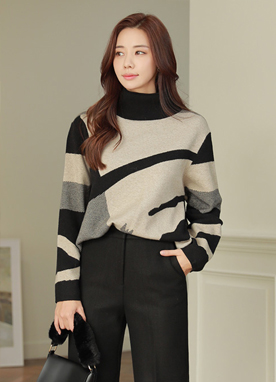 Artistic Color Scheme High Neck Knit Sweater, Styleonme