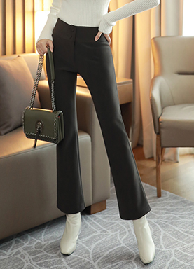 Two Button Brushed Lining Boot-Cut Slacks, Styleonme