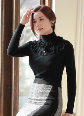 Romantic Lace Turtleneck Knit Top, Styleonme