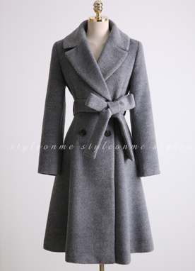 Premium Wool Blend Double-Breasted Flared Coat, Styleonme